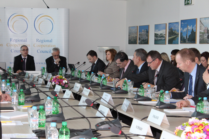 The new RCC Secretary General, Goran Svilanovic (first left) chairs the first meeting of the RCC Board in 2013, in Sarajevo on 28 February 2013. (Photo: RCC/Selma Ahatovic-Lihic)