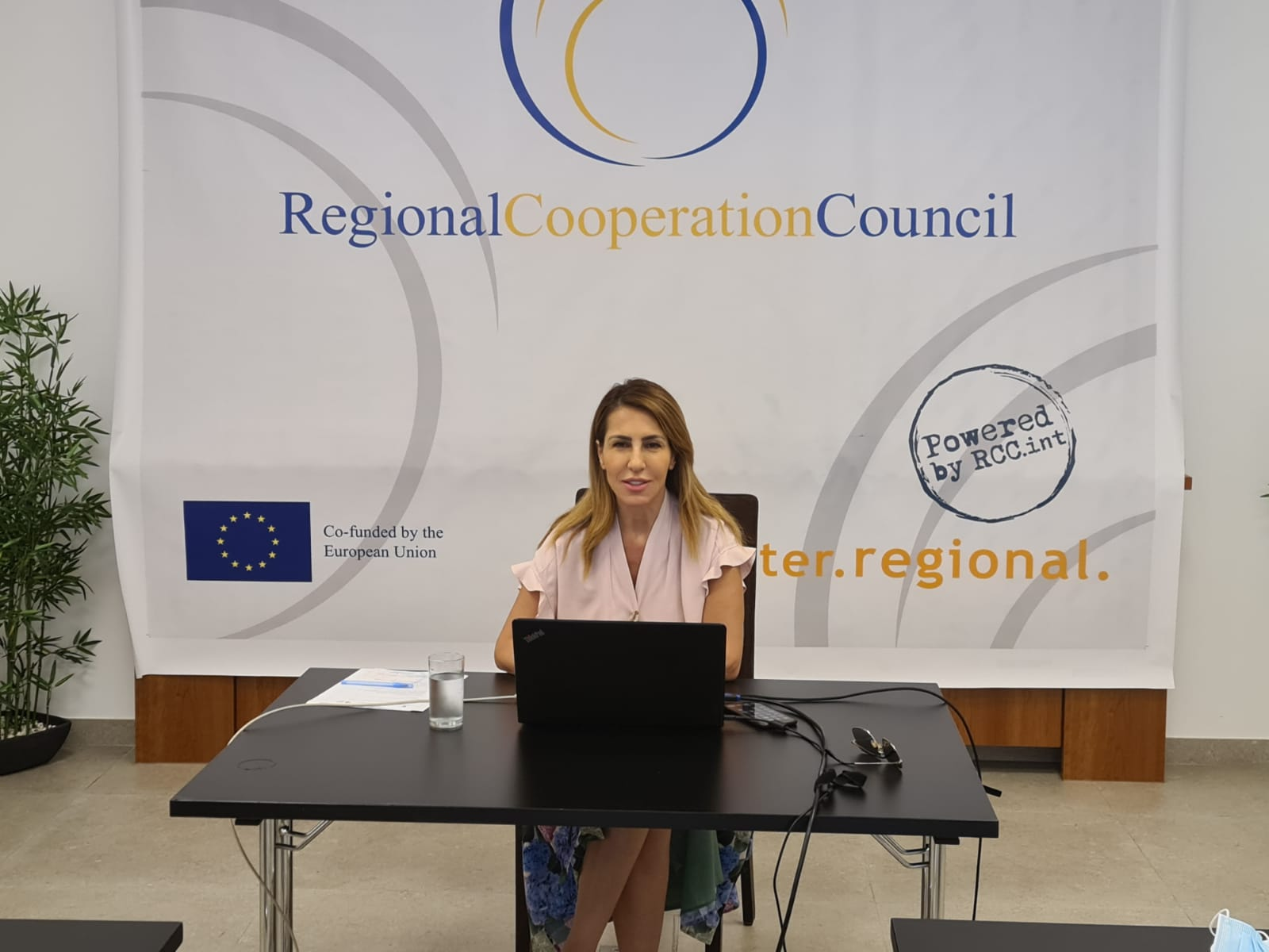 RCC Secretary General Majlinda Bregu at the Ministerial meeting on Roma Integration which took place in Sarajevo on 28 June 2021 (Photo: RCC/Armin Durgut)