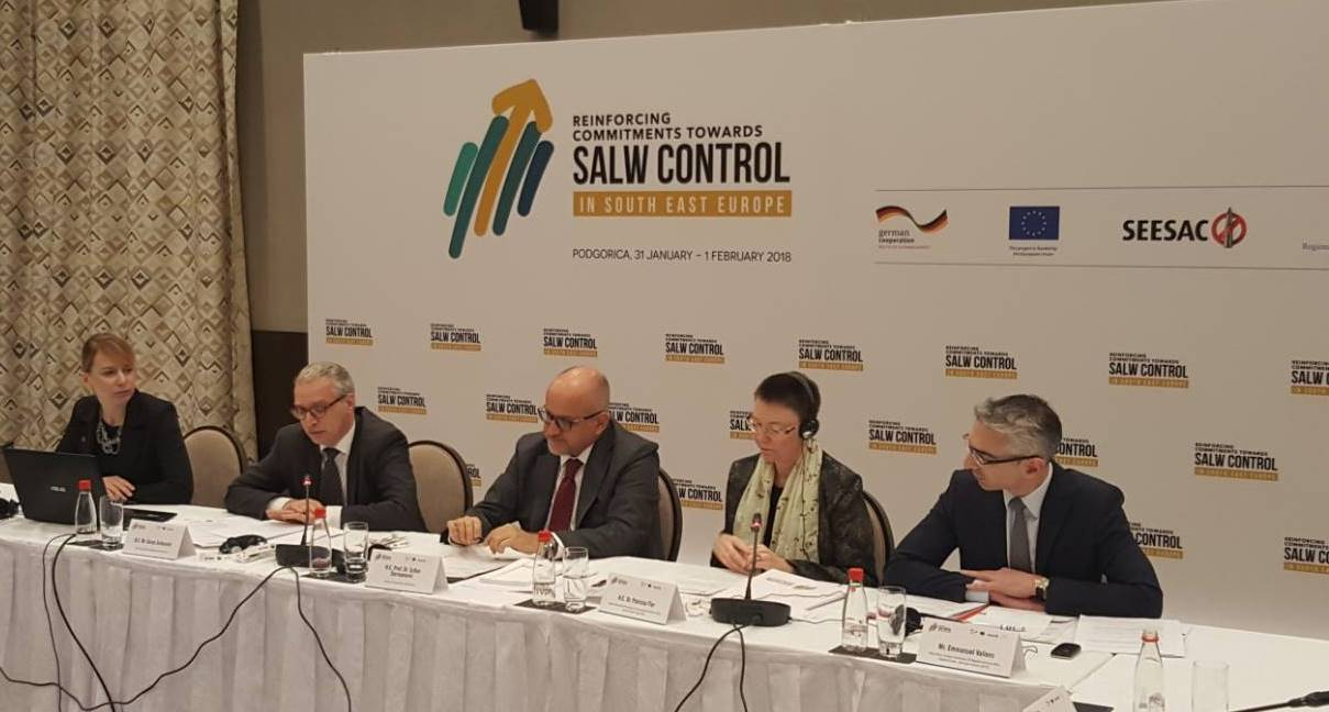 RCC Secretary General Goran Svilanovic addressing the High Level Regional Conference - Reinforcing Commitments towards Small Arms and Light Weapons Control in South East Europe, in Podgorica, Montenegro, 1 February 2018 (Photo: RCC/Zoran Popov)