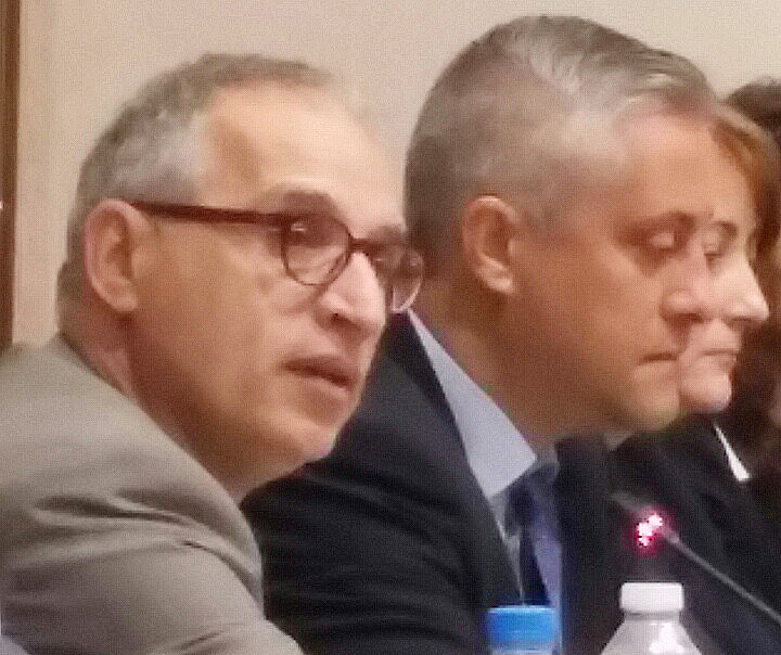 RCC Secretary General, Goran Svilanovic (first left), and Bulgarian Minister of Economy, Bozhidar Lukarski (second left), at the conference focusing on the state of regional economy and ways to improve it, in Sofia, Bulgaria, on 19 June 2015. (Photo: RCC/Gordana Demser)