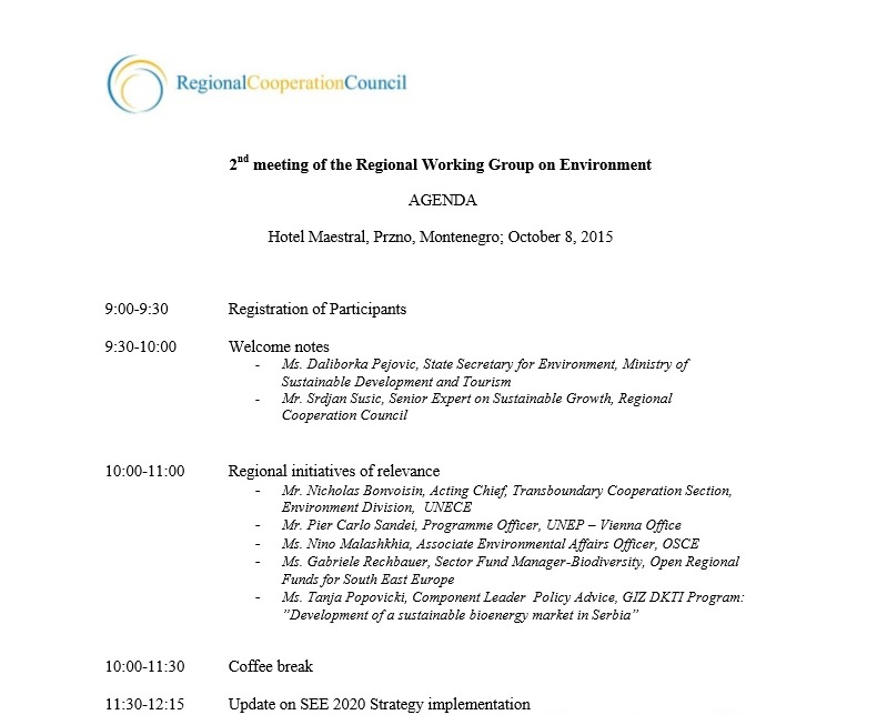 Agenda of the 2nd meeting of the Regional Working Group on Environment