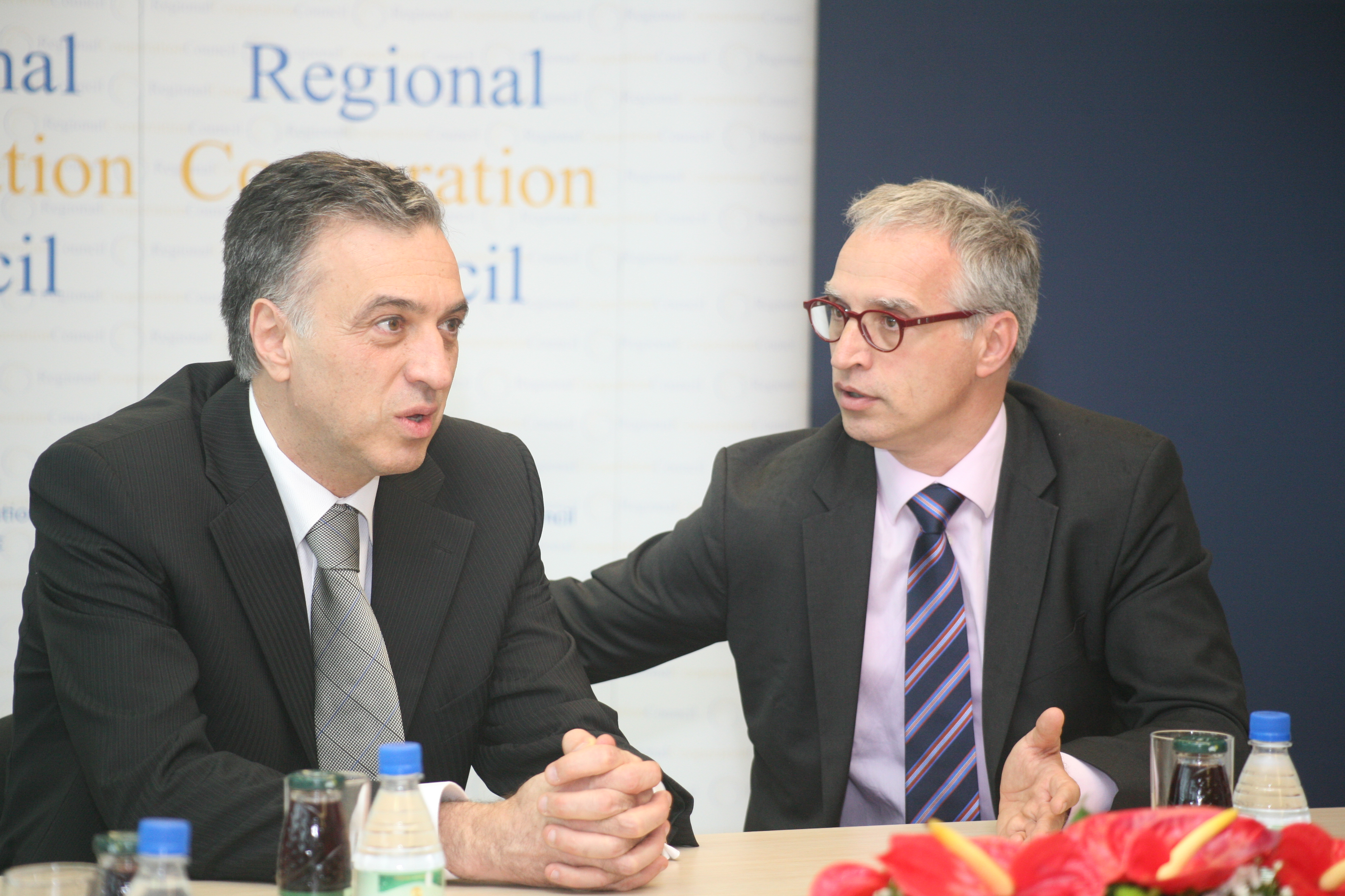 Goran Svilanović (left), RCC Secretary General, met with Filip Vujanović, President of Montenegro, at the organisation's Secretariat in Sarajevo on 14 May 2014. (Photo RCC/Zoran Kanlic)