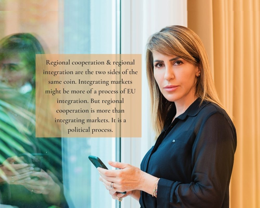 Majlinda Bregu, RCC's Secretary General gave opening remarks at the Friends of Europe's EU-Western Balkans Summit 2020 on 7 December 2020 (Photo: RCC/Armand Habazaj)