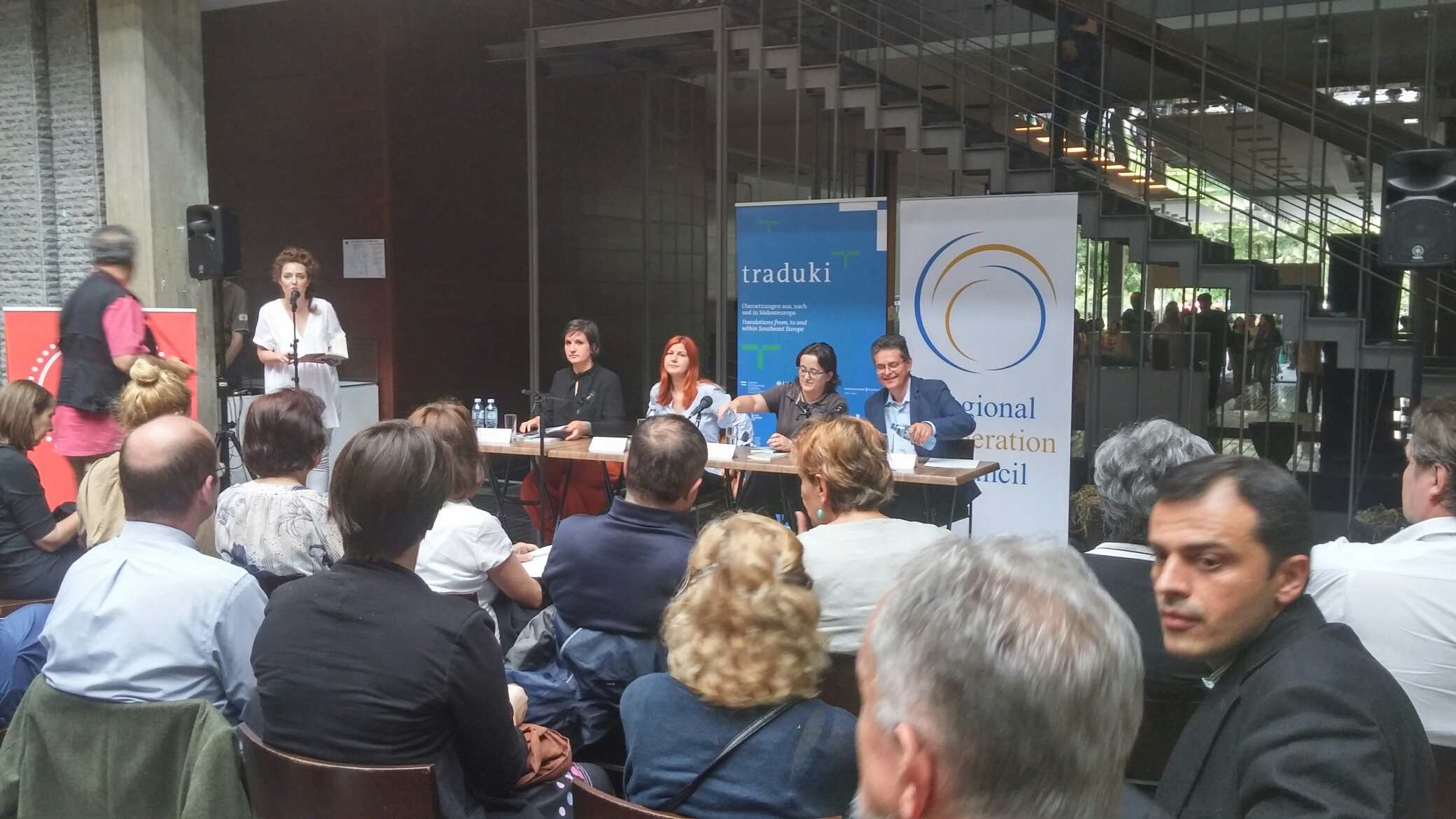 RCC supports two award winning authors from Bosnia and Herzegovina, Lejla Kalamujić (Sarajevo) and Tanja Stupar-Trifunović (Banja Luka), presenting their work to the Belgrade audience at the National Library of Serbia, on 14 June 2016. (Photo: RCC/Ratka Babic)