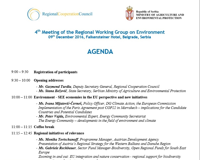 Agenda of 4th meeting of the Regional Working Group on Environment