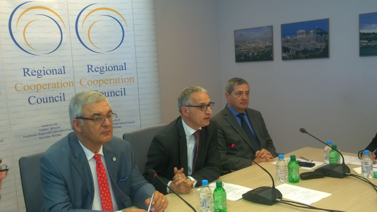 RCC Secretary General, Goran Svilanovic, RCC Deputy Secretary General, Gazmend Turdiu (R), and Gjergj Murra,  RCC National Coordinator and Head of the SEECP Secretariat (L), at the RCC Board meeting in Sarajevo on 12 May 2015. (Photo: RCC/Alma Arslanagic Pozder)