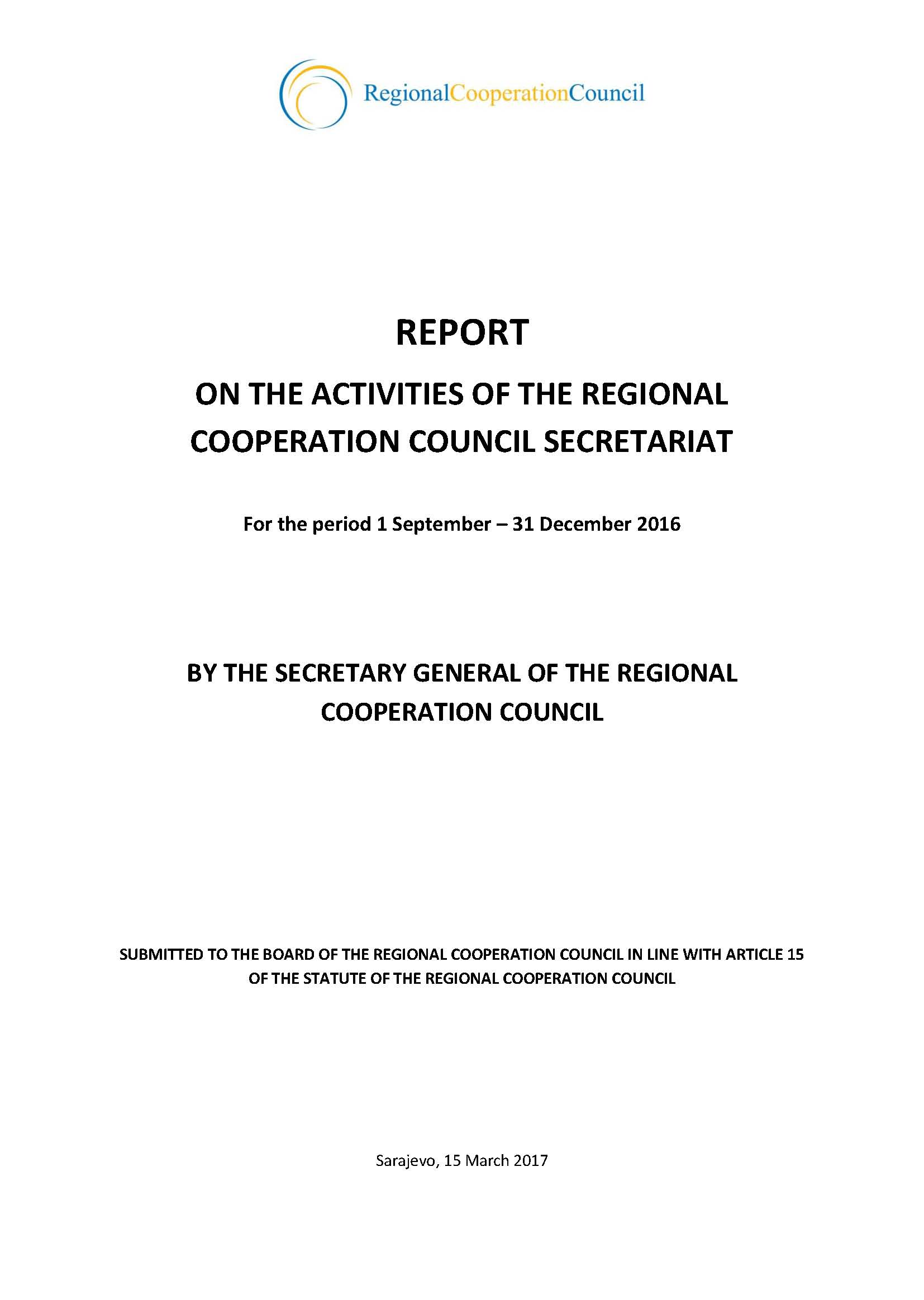 Report on the activities of the Regional Cooperation Council Secretariat for the period 1 September – 31 December 2016