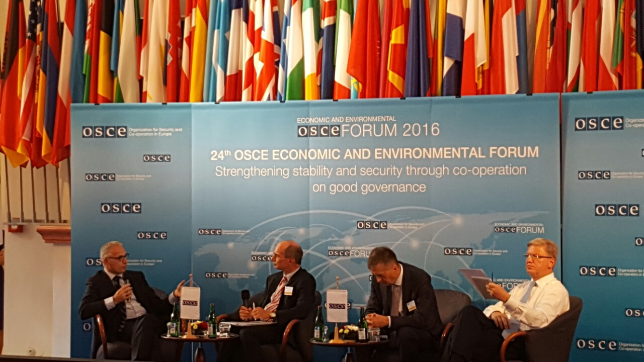 RCC Secretary General, Goran Svilanovic (first left), takes part in the 24th OSCE Economic and Environmental Forum, in Prague, on 14 September 2016. (Photo: RCC/Dorin Vremis)