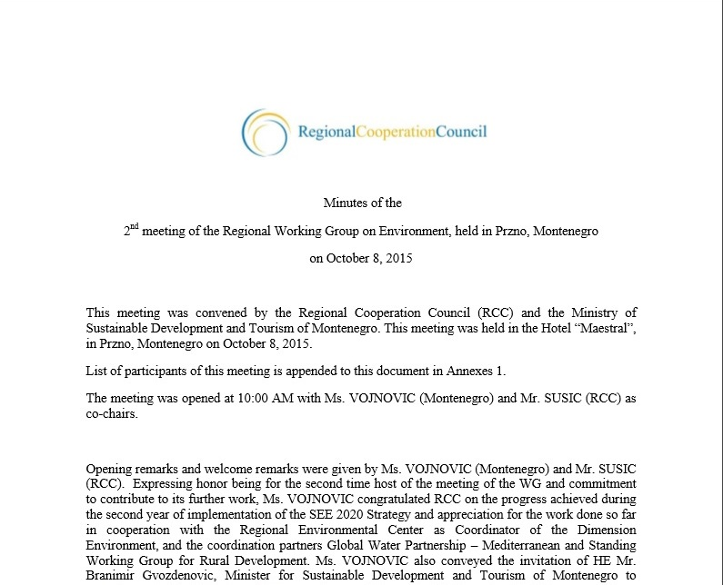 Minutes of the 2nd meeting of the Regional Working Group on Environment