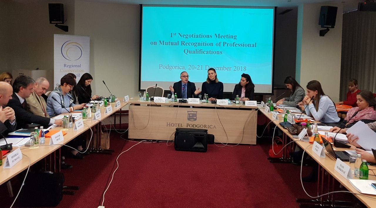Western Balkan Six kick-off negotiations on mutual recognition of professional qualifications in Podgorica 20-21 December 2018 (Photo: RCC)