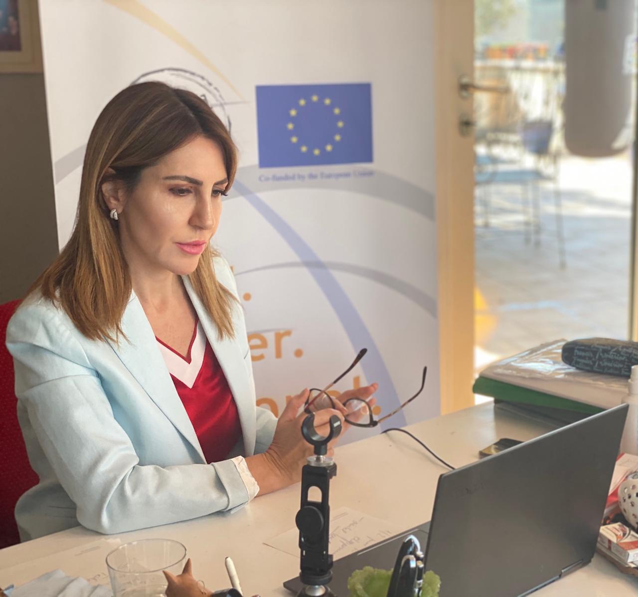 Secretary General Majlinda Bregu hosting the 42nd RCC Board meeting held in online format on 11 March 2021 (Photo: RCC)