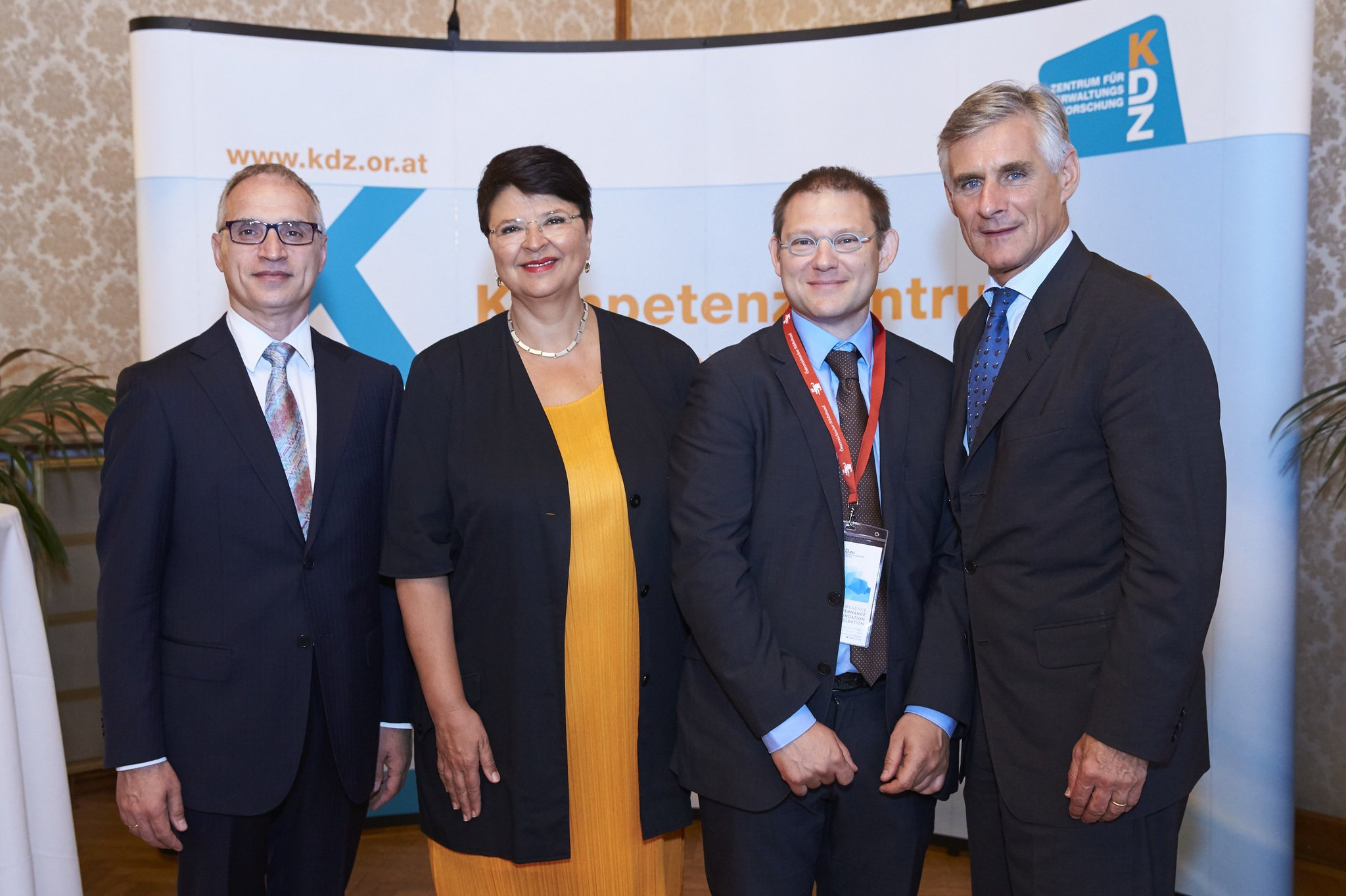 """From left to right: Goran Svilanovic, RCC Secretary General; Renate Brauner, Member of Vienna's Government, Executive City Councillor for Finance, Economy & International Affairs; Thomas Prorok, KDZ_Austria Deputy Managing  Director; and Michael Linhart, Secretary-General of the Austrian Foreign Ministry; at the """"Public Governance as the Foundation of European Integration"""" conference in Vienna on 23 June 2016. (Photo: @KDZ_Austria)"""