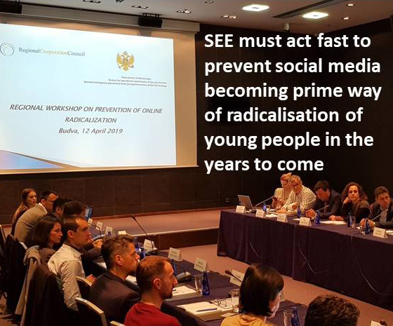 Participants of the regional Workshop on prevention of online radicalization in South East Europe (SEE) in Budva, 12 April 2019 (Photo: RCC/Natasa Mitrovic)