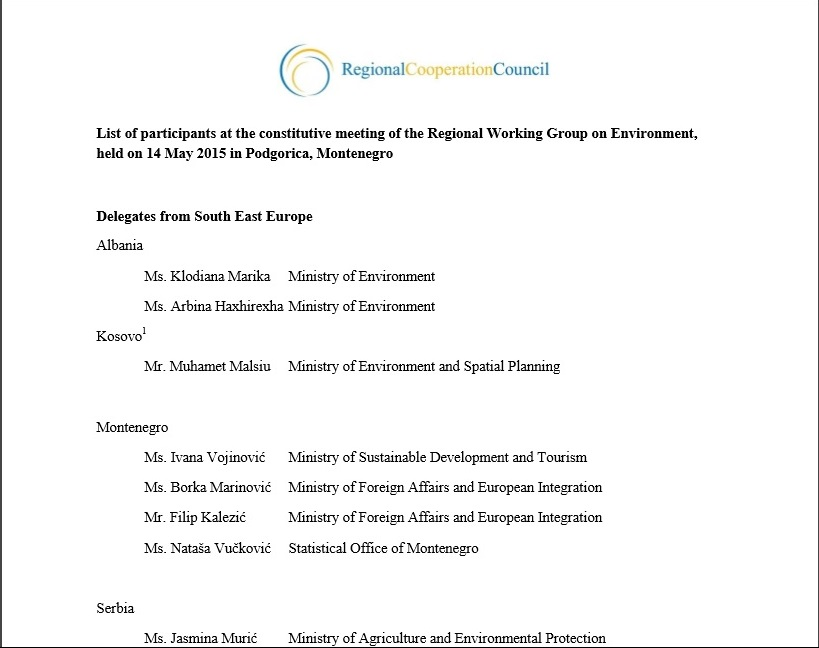 List of participants of the Constitutive meeting of the Regional Working Group on Environment