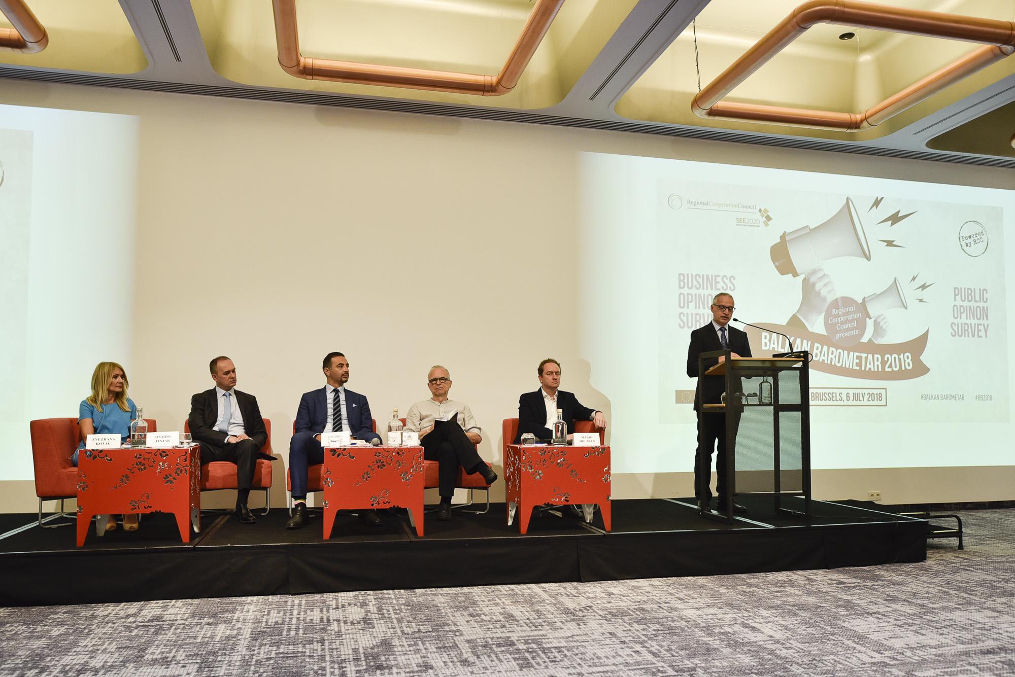 Goran Svilanovic, Secretary General of the Regional Cooperation Council (RCC) presents Balkan Barometer 2018, in Brussels, 6 July 2018 (Photo: RCC/Jerome Hubert)