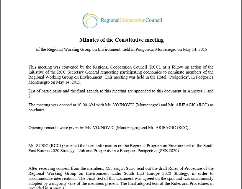 Minutes of the Constitutive meeting of the Regional Working Group on Environment