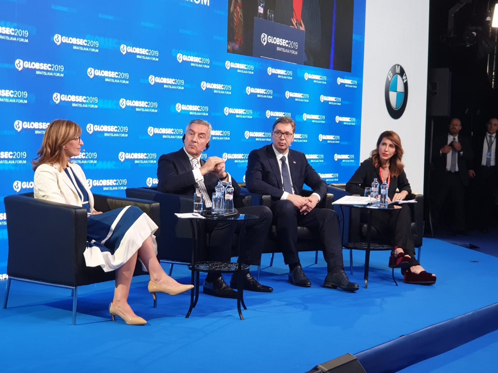 "RCC Secretary General, Majlinda Bregu at the GLOBSEC 2019 Forum speaking at the panel 'Western Balkans: drifting away from Europe?"", together with presidents of  Montenegro and Serbia, Milo Djukanovic and Aleksandar Vucic  and Bulgarian Minister of Foreign Affairs, Ekaterina Zaharieva, in Bratislava on 7 June 2019 (Photo: RCC/Ratka Babic)"