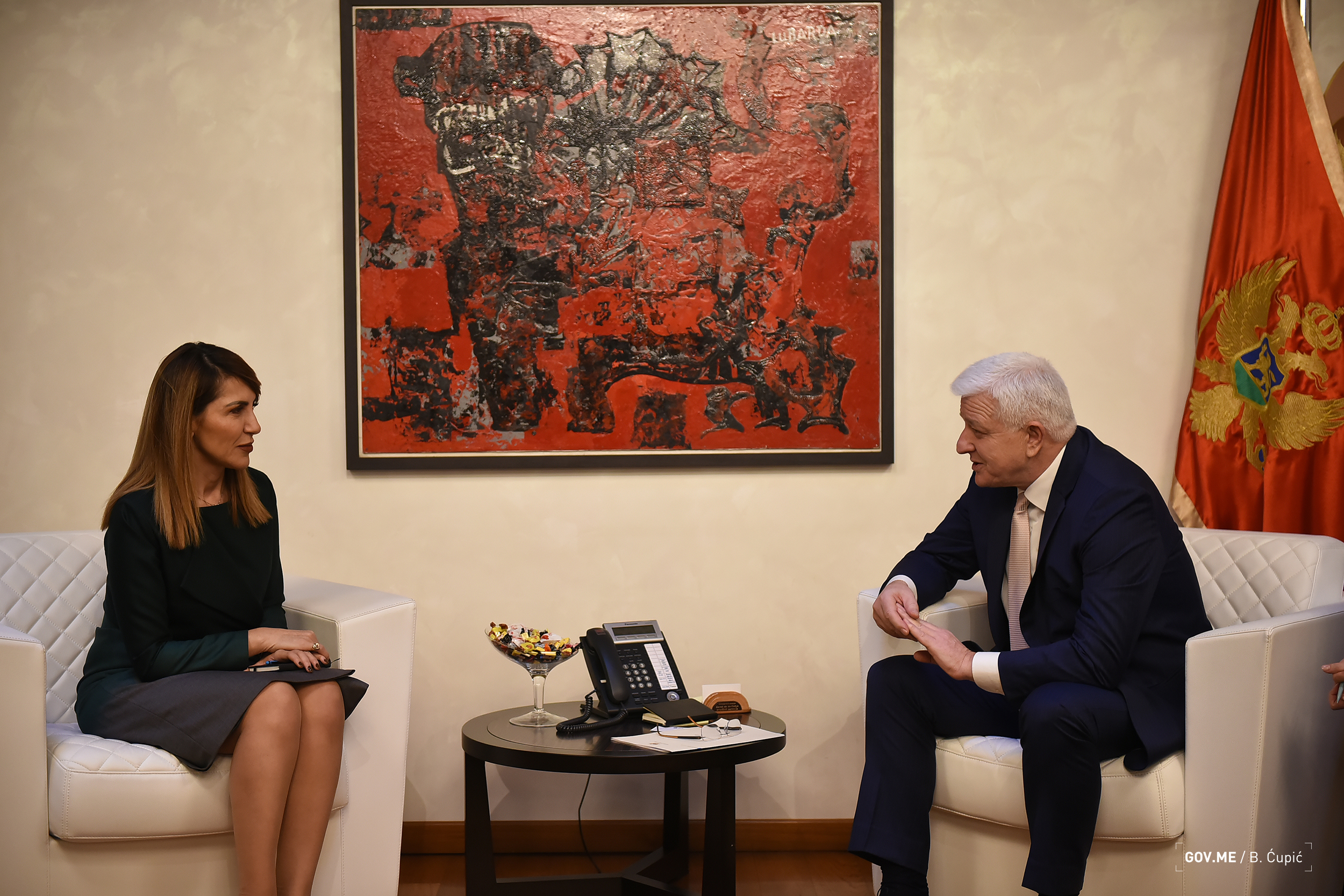 Secretary General of the Regional Cooperation Council (RCC), Majlinda Bregu with the Prime Minister of Montenegro, Duško Marković, in Podgorica on 22 February 2019 (Photo: Courtesy of the Government of Montenegro)