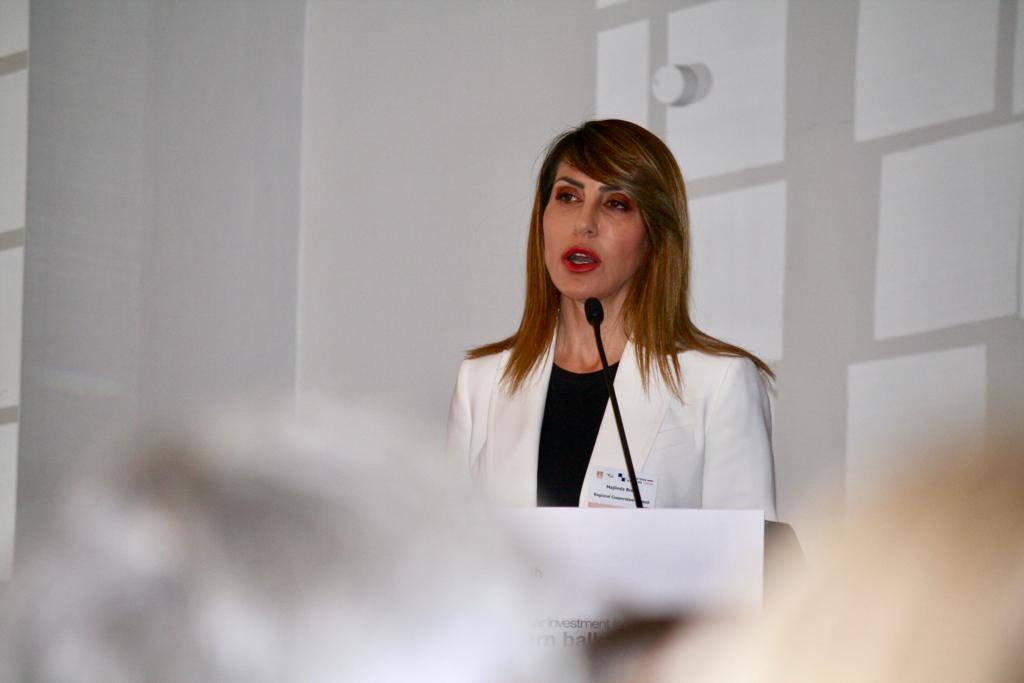 RCC Secretary General Majlinda Bregu spoke at the Financial Times Forum in London dedicated to Foreign Direct Investments in Western Balkans on 18 June 2019 (Photo: RCC/Selma Ahatovic-Lihic)