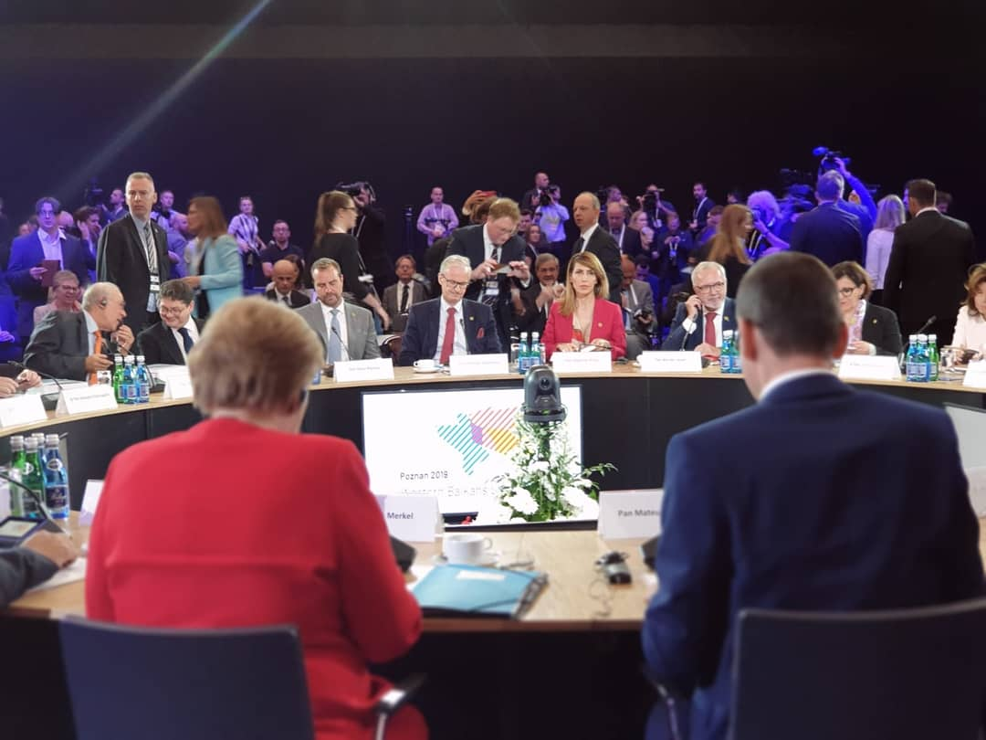RCC Secretary General, Majlinda Bregu addressing the Western Balkans Leaders' Summit in Poznan, Poland, 5 July 2019 (Photo: RCC/Erik Witsoe)