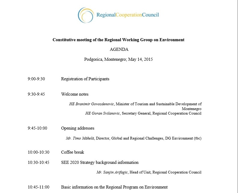 Agenda of the constitutive meeting of the Regional Working Group on Environment