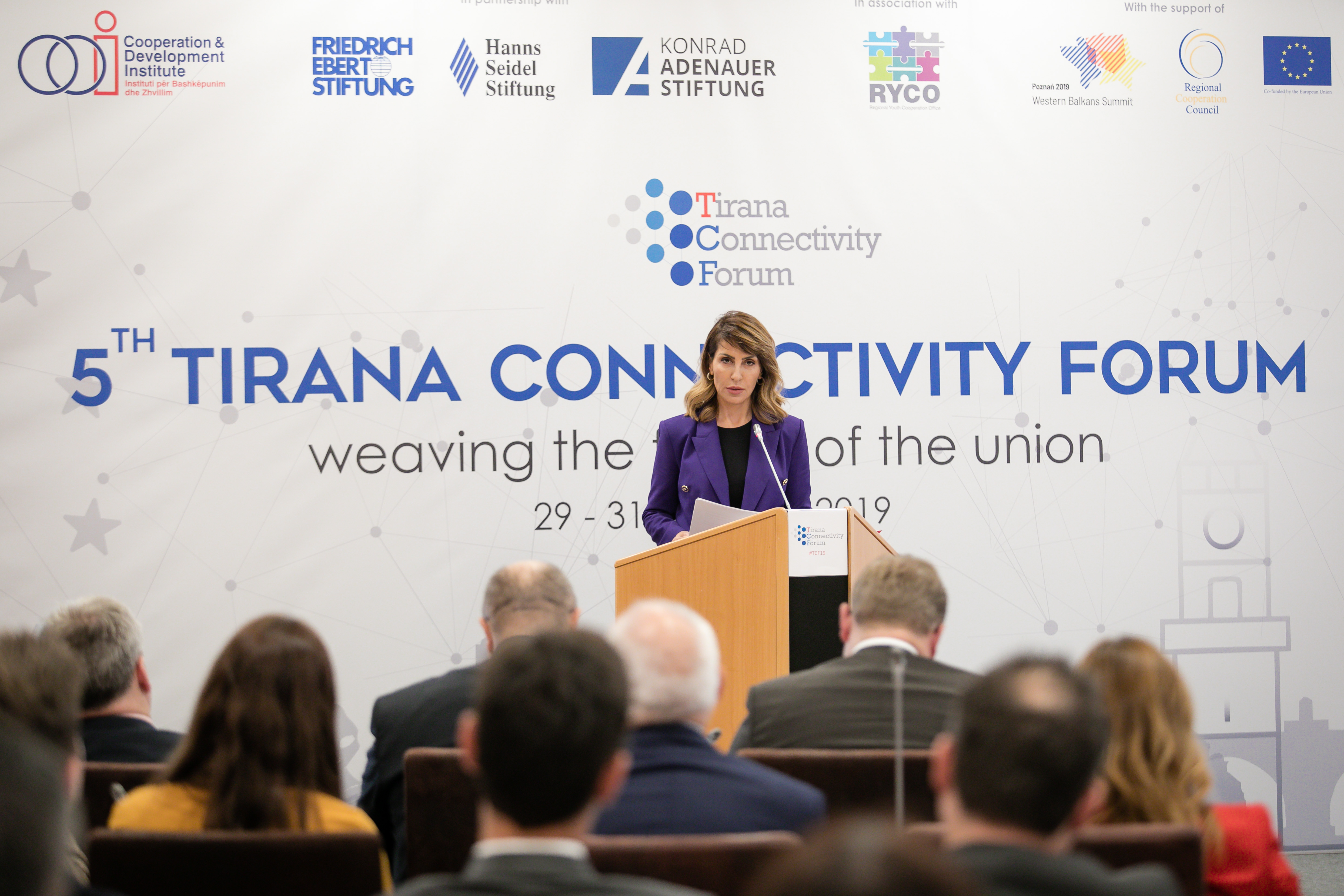 Majlinda Bregu, RCC Secretary General delivering Keynote Speech at the 2019 Tirana Connectivity Forum, in Tirana on 30 October 2019 (Photo: (Photo: RCC/Gent Onuzi)