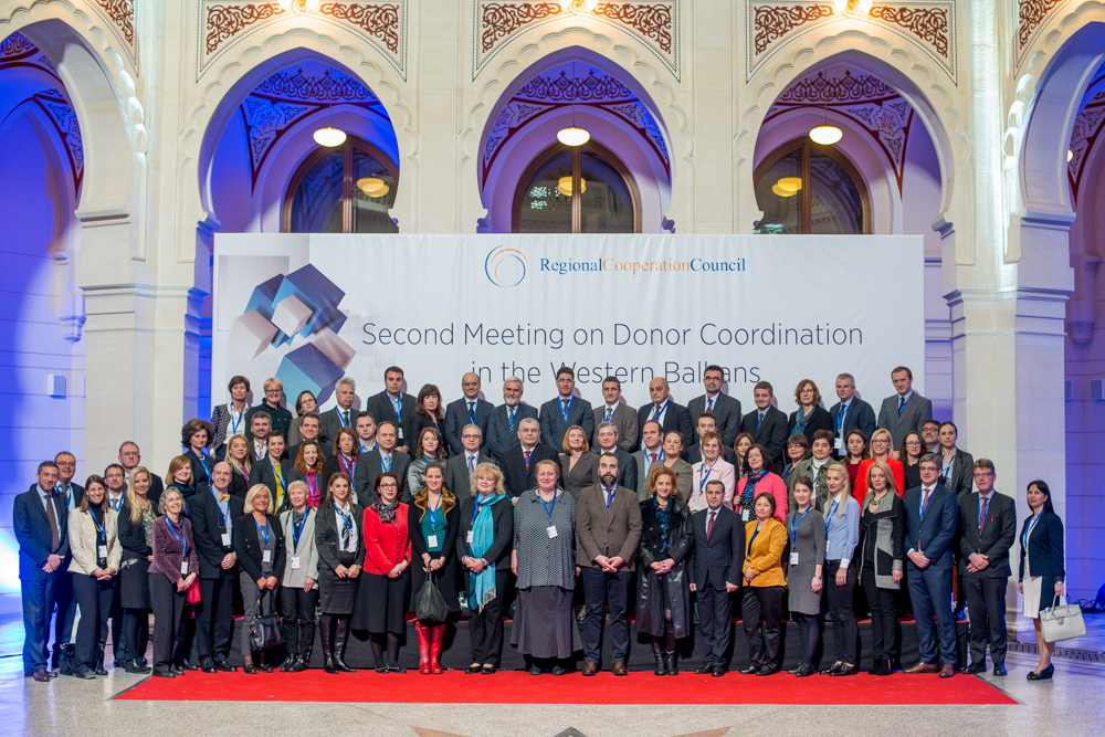 Participants of the second meeting on donor coordination in the Western Balkans, held under RCC auspices on 23 March 2016 in Sarajevo. (Photo: RCC/Amer Kapetanovic)