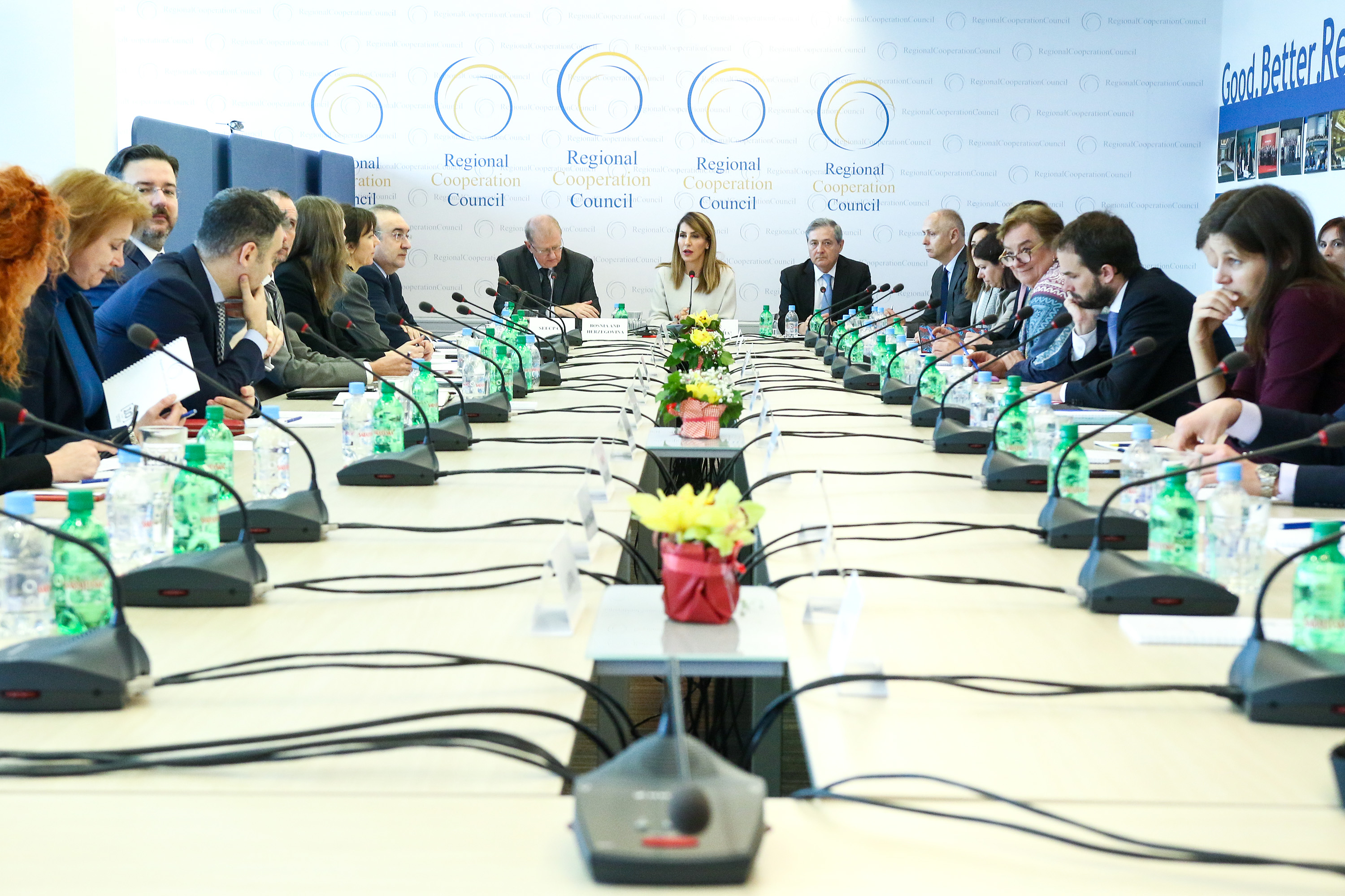 RCC Board met for the 36th time with the new RCC Secretary General, Majlinda Bregu, chairing the meeting for the first time, in Sarajevo on 14 March 2019 (Photo: RCC/Armin Durgut)