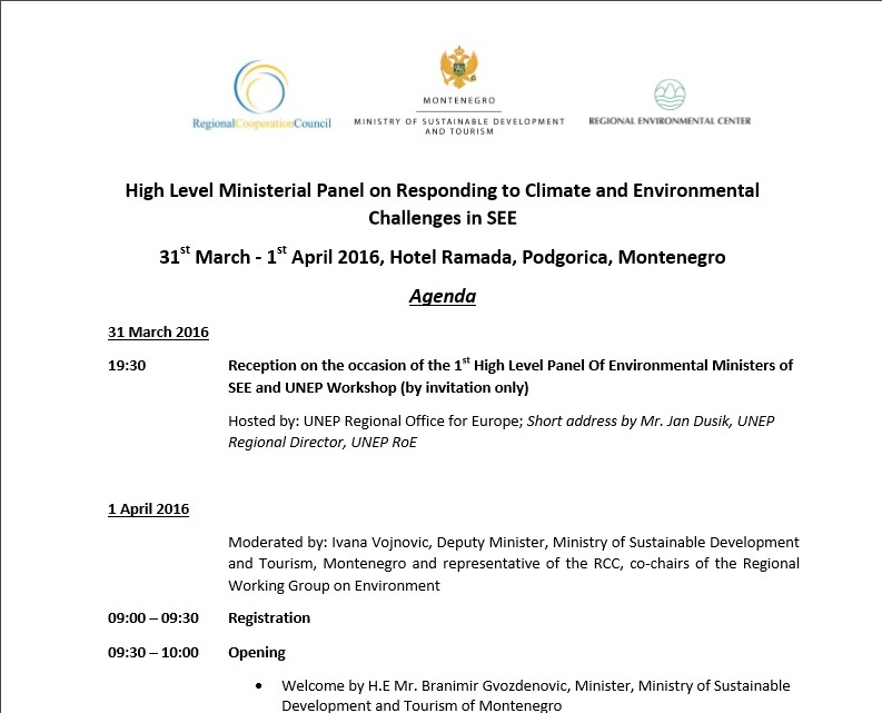 Agenda of High Level Ministerial Panel on Responding to Climate and Environmental Challenges in SEE