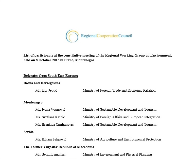 List of participants of the 2nd meeting of the Regional Working Group on Environment