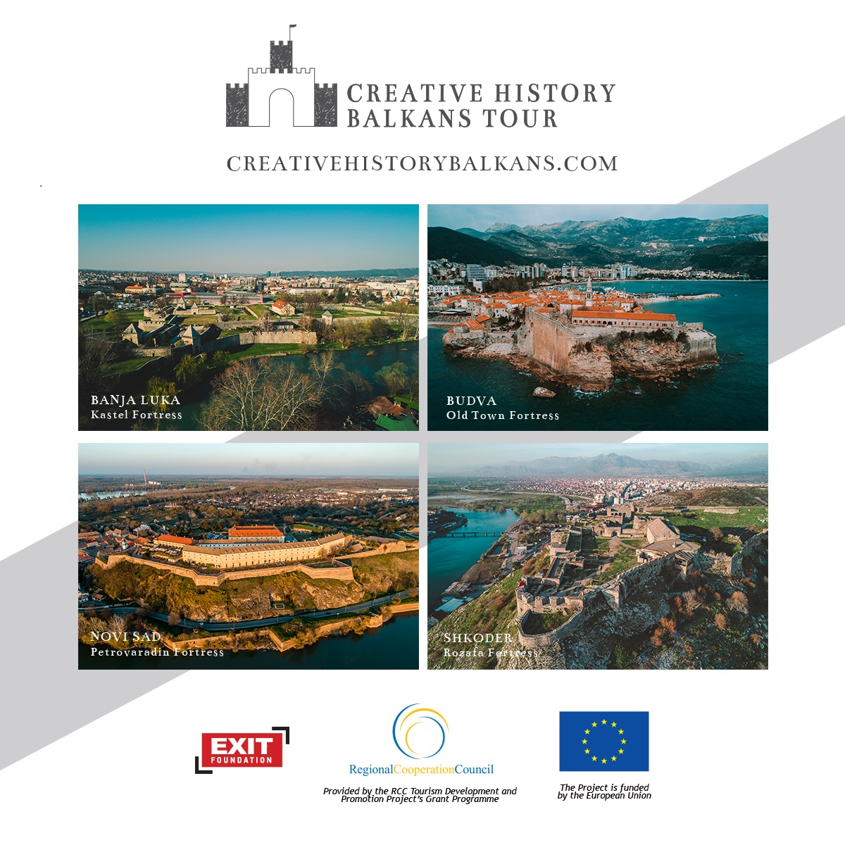 EXIT Foundation, a beneficiary of the RCC implemented and EU funded tourism development grant scheme and a winner of the RCC's champion of regional cooperation award, launched  the Creative History Balkans Tour which takes visitors to four amazing fortresses in the region, in Novi Sad on 5 June 2019 (Photo: EXIT Foundation)