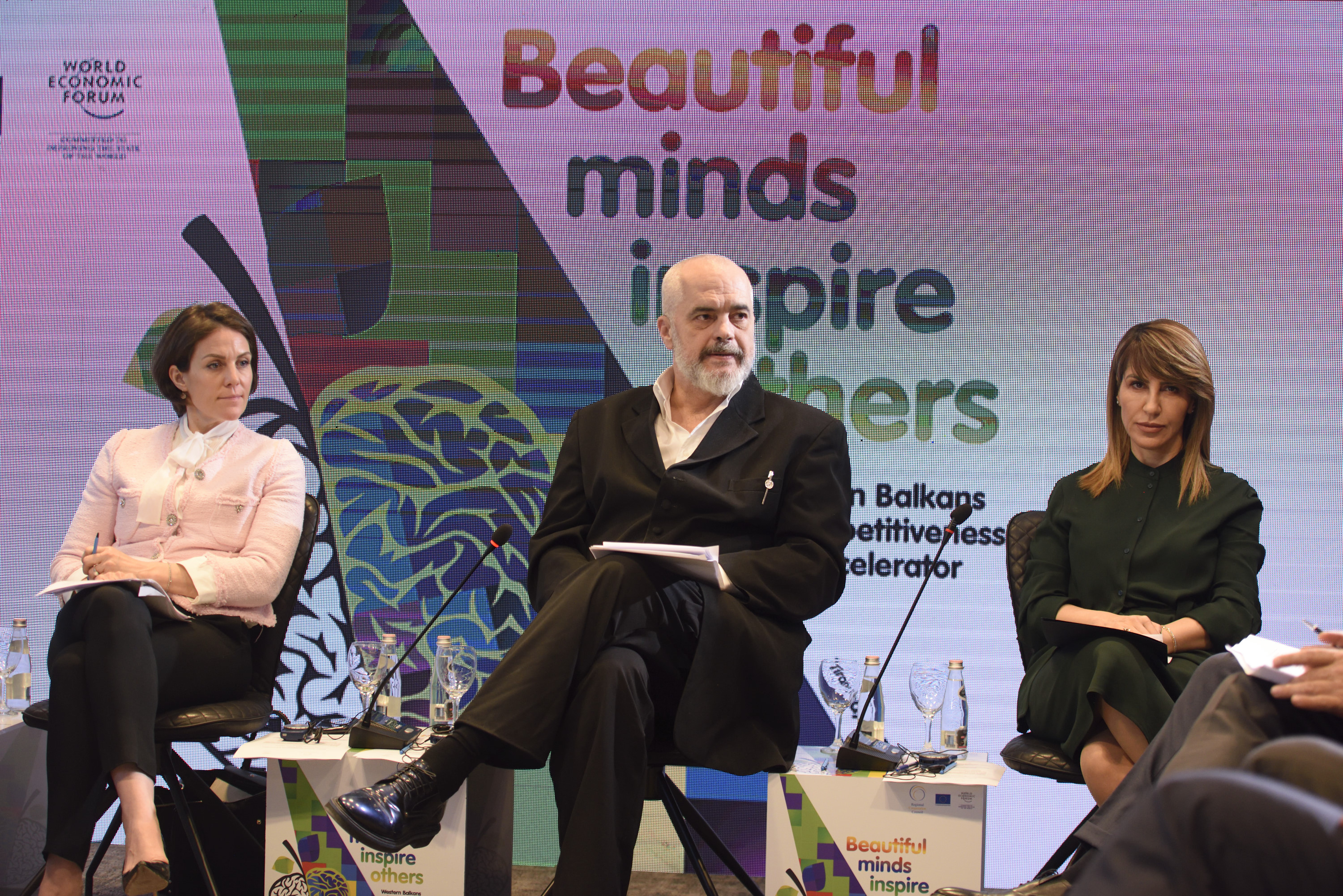 RCC Secretary General Majlinda Bregu (first right), Albanian Prime Minister, Edi Rama and Member of the Executive Committee and Head of Regional Strategies-Europe and Eurasia at the World Economic Forum Martina Larkin, at the kick-off meeting of the Western Balkans Innovation and Competitiveness Accelerator, on 21 February in Tirana. (Photo: RCC/Armand Habazaj)
