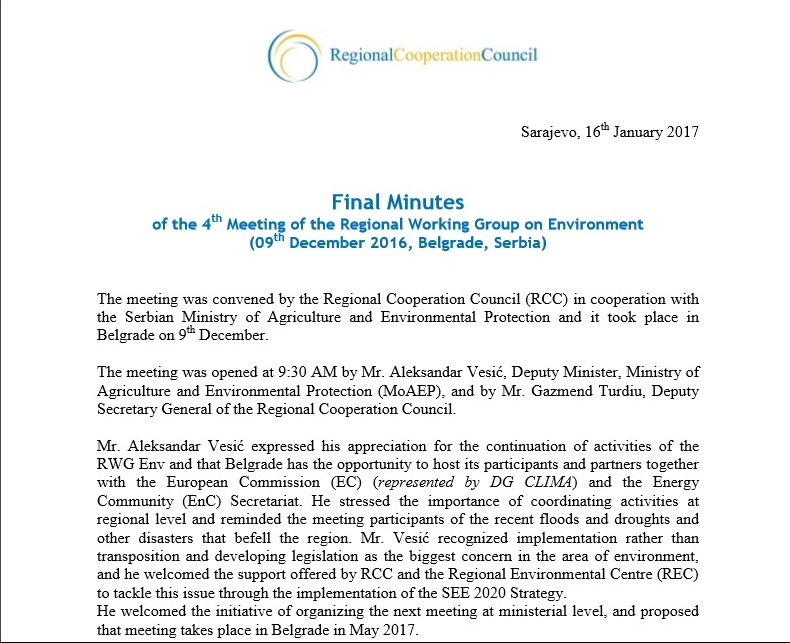 Minutes of 4th meeting of the Regional Working Group on Environment