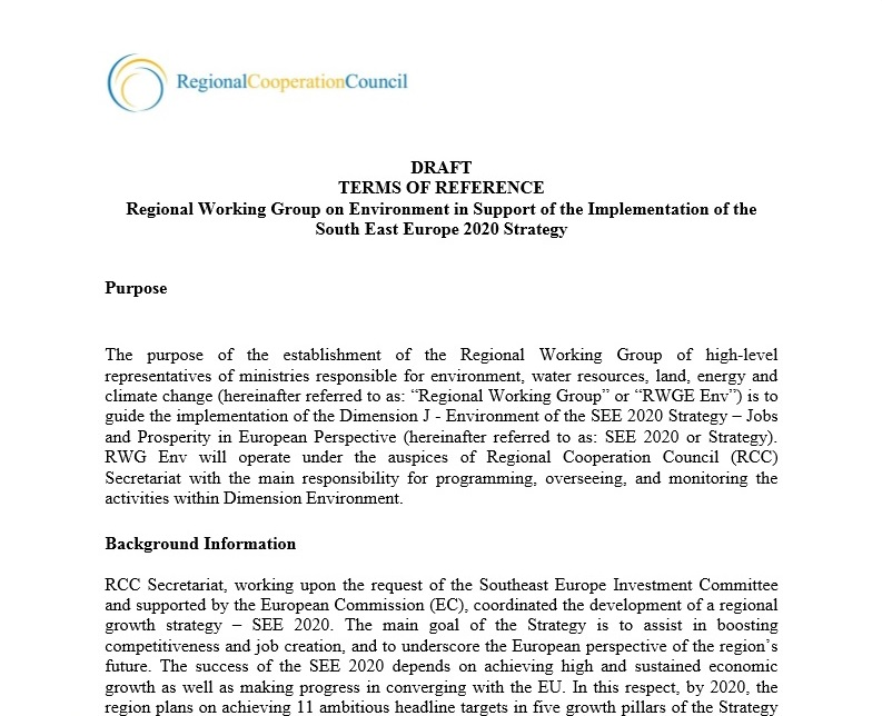 Terms of Reference: Regional Working Group on Environment in Support of the Implementation of the South East Europe 2020 Strategy
