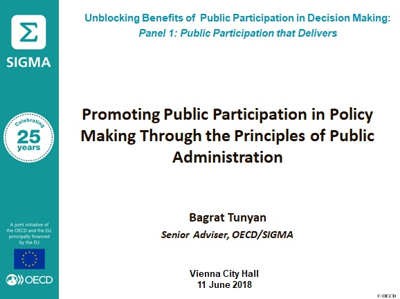 Presentation: Promoting Public Participation in Policy Making Through the Principles of Public Administration by Bagrat Tunyan, Senior Adviser at OECD/SIGMA