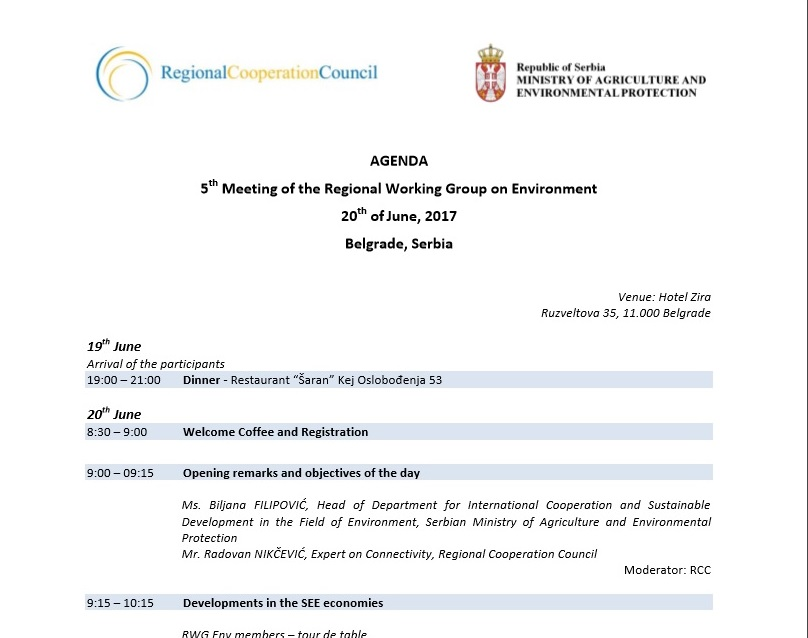 Agenda of 5th meeting of the Regional Working Group on Environment