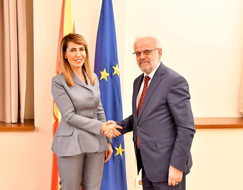 RCC Secretary General Majlinda Bregu with President of the Assembly, Talat Dzaferi, on 22 January 2019 in Skopje (Photo: Courtesy of the Office of the President of the Assembly)