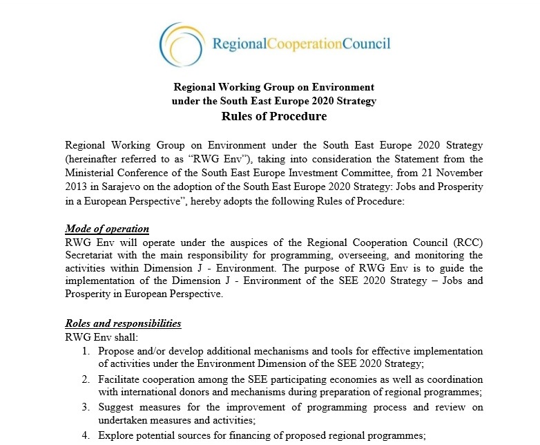 Rules of Procedure: Regional Working Group on Environment under the South East Europe 2020 Strategy