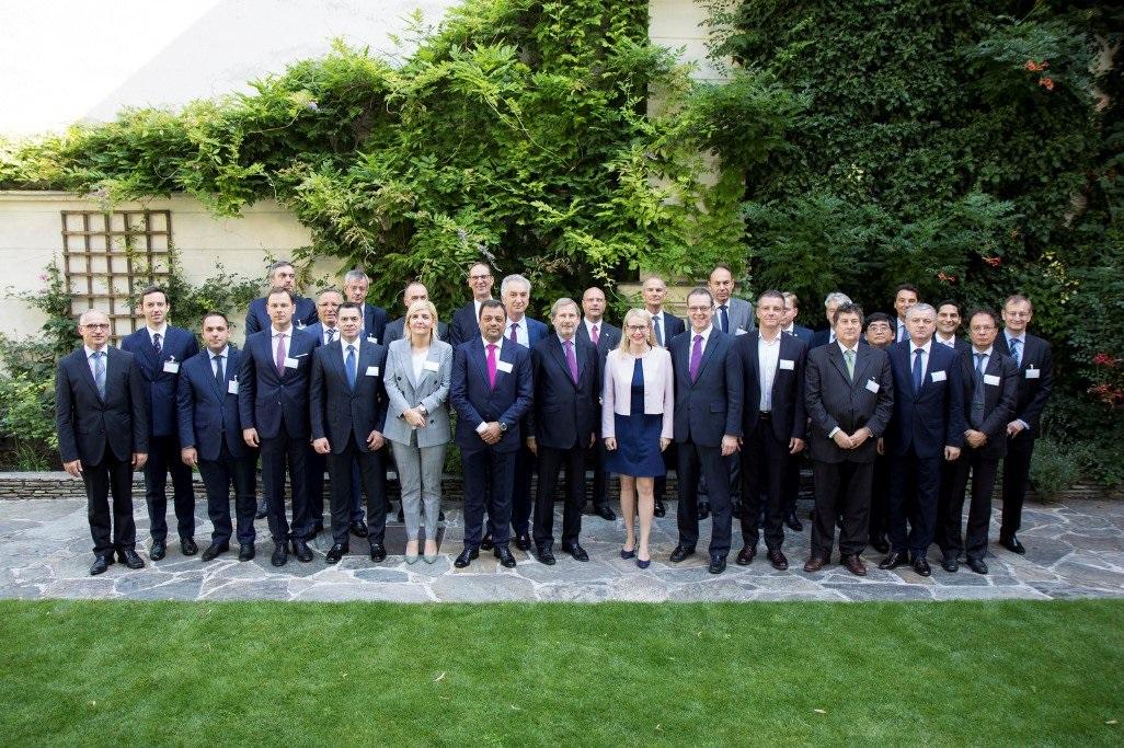 Participants of the meeting of the Ministers of Economy of the London Western Balkans Summit, held in Vienna, 4 July 2018 (Photo: RCC/Maja Handjiska Trendafilova)