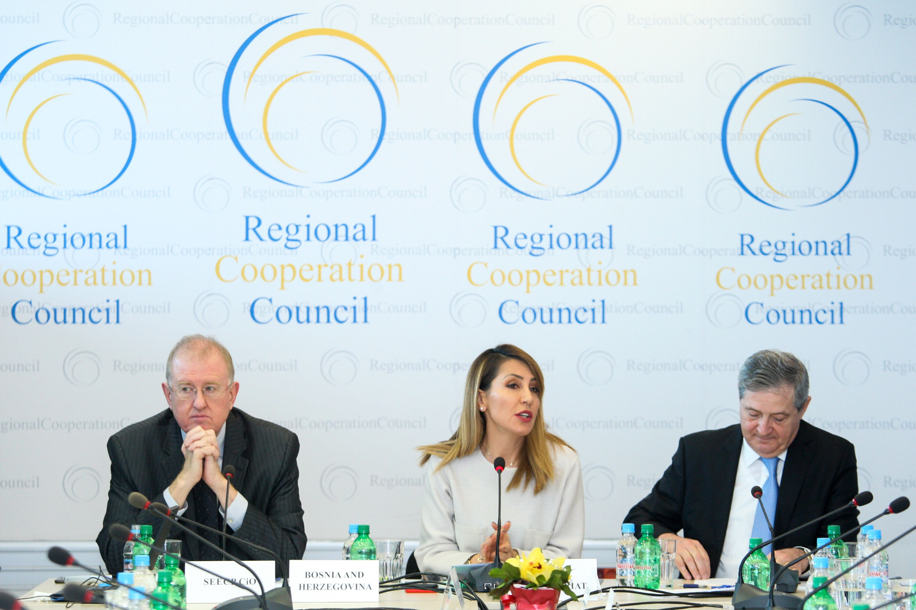 Secretary General of the RCC Majlinda Bregu, Milos Prica, Ambassador-at-large, MFA of Bosnia and Herzegovina, on behalf of the SEECP Chairmanship-in-Office currently held by Bosnia and Herzegovina (left) and RCC Deputy Secretary General Gazmend Turdiu (right), at the 36th Meeting of the RCC Board, held in Sarajevo on 14 March 2019 (Photo: RCC/Selma Ahatovic-Lihic)