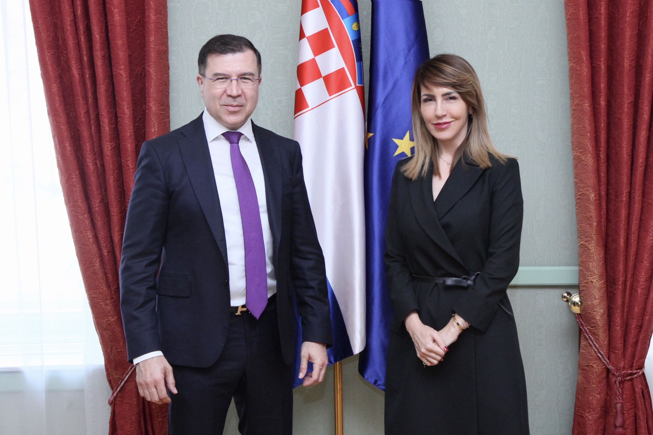 Secretary General of the Regional Cooperation Council (RCC) Majlinda Bregu with  Domagoj Ivan Milošević, Chairperson of the European Affairs Committee, during SG's official visit to Croatia,in Zagreb on 18 April 2019 (Photo: Courtesy of Croatian Parliament)