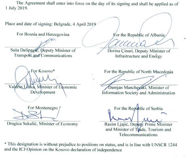 Regional Roaming Agreement for the Western Balkans