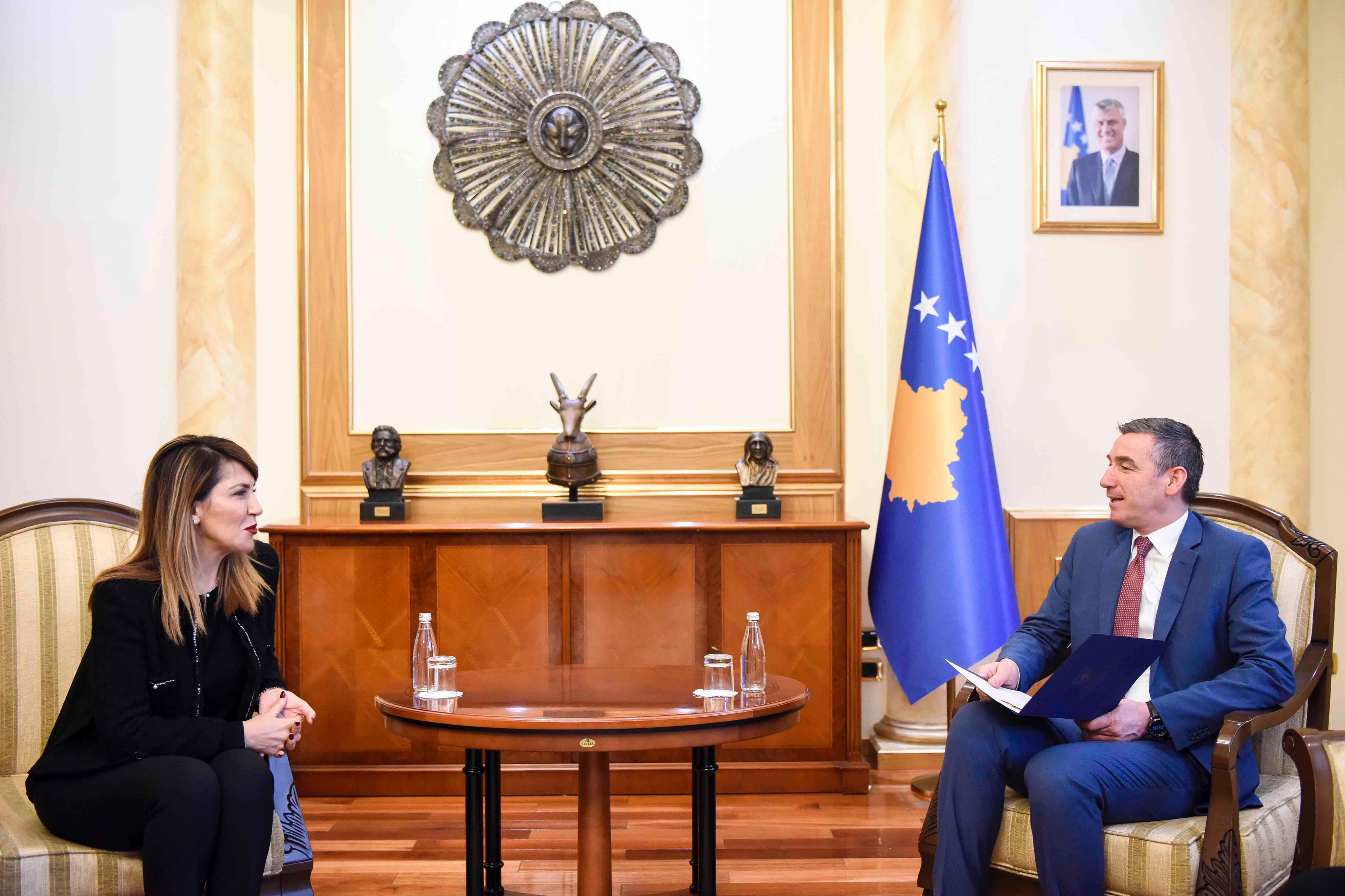 RCC Secretary General Majlinda Bregu and Speaker of the Parliament Kadri Veseli, on 18 January 2019 in Pristina. (Photo: Courtesy of the Office of the Speaker of the Parliament)