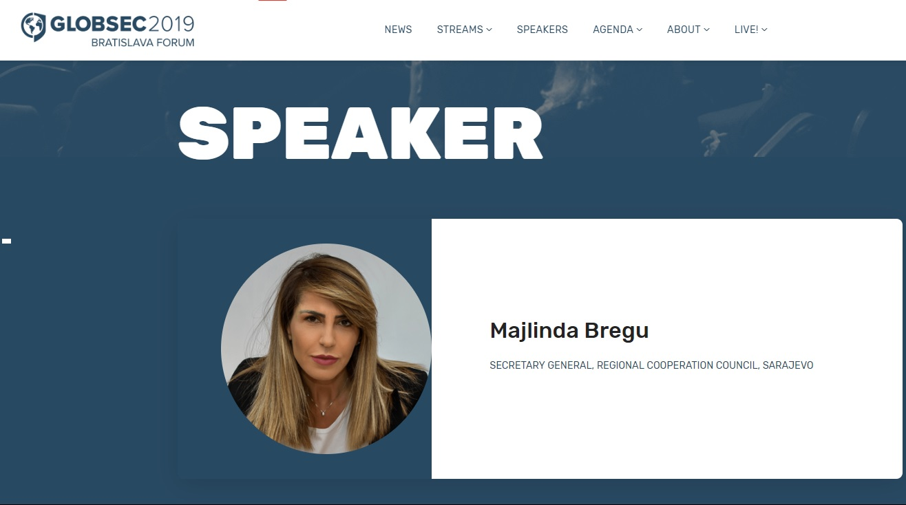 Full speech by the RCC Secretary General Majlinda Bregu at the GLOBSEC 2019 Forum