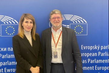 RCC Secretary General Majlinda Bregu met with Tonino Picula, Member of the EU Parliament to talk, among other things, about the EU perspective of the Western Balkans economies, in Brussels on 18 February 2020 (Photo: RCC/Elda Kalaja)
