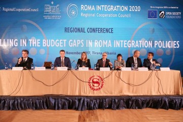 Goran Svilanovic, RCC Secretary General (in the middle) speaking at the Regional Conference on Filling in the Budget Gaps in Roma Integration Policies, in Tirana, Albania held on 10 November 2017 (Photo: RCC)