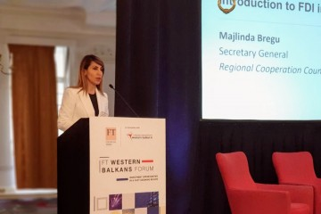 RCC Secretary General Majlinda Bregu spoke at the Financial Times Forum in London dedicated to Foreign Direct Investments in Western Balkans on 18 June 2019 (Photo: RCC/Selma Ahatovic-Lihic)