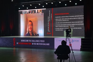 "Deputy Secretary General of the Regional Cooperation Council (RCC) Tanja Miscevic giving introductory remarks at the online webinar ""Addressing the challenges posed by disinformation in the Western Balkans"", held in Sarajevo on 11-12 November 2020 (Photo: RCC)"