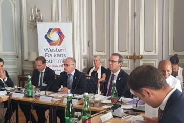 RCC Secretary General Goran Svilanovic presented key results of the implementation of Multi-Annual Action Plan on Regional Economic Area at the meeting of Ministers of Economy of the London Western Balkans Summit held in Vienna, 4 July 2018 (Photo: RCC/Maja Hadjiska Trendafilova)