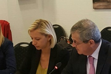 RCC Deputy Secretary General, Gazmend Turdiu and Maja Pinjo Talevska, Senior Programming Expert at the Fourth Meeting of the SEE 2020 Programming Committee in Vienna on 29 September. (Photo: RCC/Nedima Hadziibrisevic)